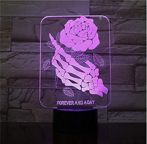 Skull Fingers Rose Shaped 3D Lamp Light LED USB Mood Night Light Multi Color Touch Gouden afstandsbediening tafellamp telefoon afstandsbediening Bluetooth
