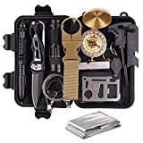 TRSCIND Survival Gear Kits 13 in 1 Outdoor Emergency SOS Survive Tool for Wilderness/Trip/Cars/Hiking/Camping Gear - Wire Saw, Emergency Blanket, Flashlight, Tactical Pen, Water Bottle Clip ect,