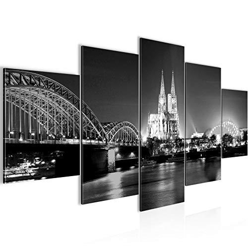 Runa Art - Bilder Köln 200 x 100 cm 5 Teilig XXL Wanddekoration Design Schwarz Weiss 6026c
