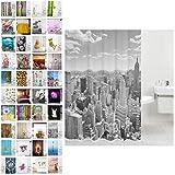 Duschvorhang, viele schöne Duschvorhänge zur Auswahl, hochwertige Qualität, inkl. 12 Ringe, Anti-Schimmel-Effekt (Skyline New York, 180 x 200 cm)