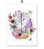 Blume Gehirn Herz Knochen Anatomie Wandkunst Leinwand Malerei Plakate und Drucke Wandbilder für Arztpraxis Wohnzimmer Dekor 40 * 50Cm ohne Rahmen
