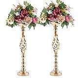 "Wedding Centerpieces for Reception Tables, Twist Candleholder Stands, Wedding Flower Arrangement Vases, Metal Centerpieces for Wedding Road-Leading Home Decor (2 x Gold, 23.23""(59cm))"