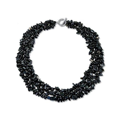 Bling Jewelry Schwarz Onyx Steinschläge Breite Klobig Der Haufen Multi Strand Bib Kragen Collier Statement-Halskette Für Damen