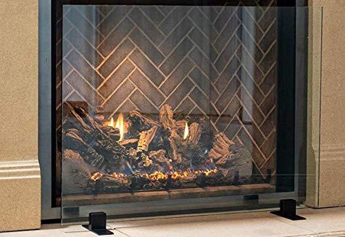 Manhattan Modern Free Standing Glass Fireplace Screen (Clear, Black Feet) Small (36' x 26') Decorative Screen Made in USA