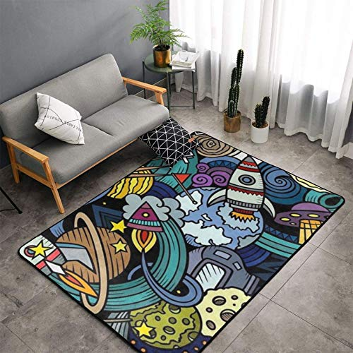 Soft Fluffy Modern 60 X 39 Inch Area Rug for Living Room Bedroom Outer Space Rocket Planet UFO Carpet Kids Room Rugs for Girls Nursery Home Decor Indoor Plush Shaggy Rugs
