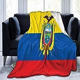 Manta de forro polar con diseño de bandera de Ecuador de Sherpa, cómoda manta térmica duradera, 102 x 127 cm