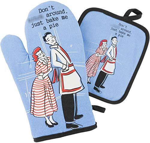 Gerhawk Funny Oven Mitt and Pot Holder Set for Men - Don't Around, Just Bake Me a Pie. Soft Cotton 100%. Cool Grilling Gadgets