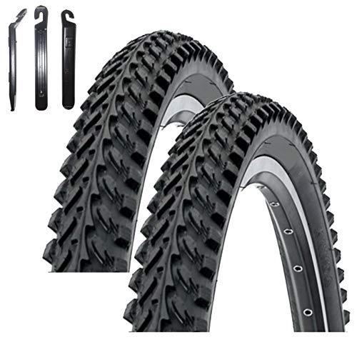 maxxi4you Kenda K-898 - Cubiertas para bicicleta de montaña (2 unidades, 24 x 1,95, incluye 3 desmontadores), color negro