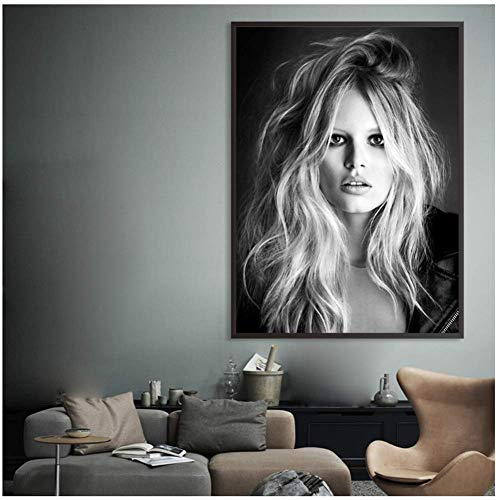 A&D Brigitte Bardot Französisch Mode Poster Leinwand Schwarzweiß Modell Foto Vintage Bild Wandkunst Home Decor -50x70cmx1pcs -No Frame