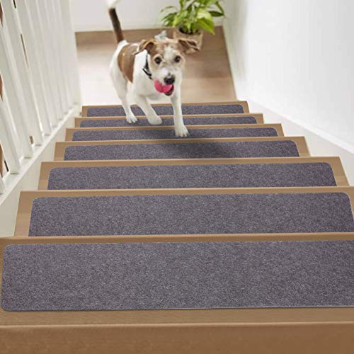 "Non Slip Carpet Stair Treads,Set of 15,Self Adhesive Stair Runner for Safety and Beauty,Safety Felts Carpet for Kids Elders and Dogs,8"" x 30"" (Dark Gray)"