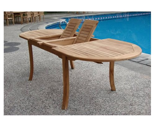 "Hot Sale Grade-A Teak Wood Extra Large double extension 117"" Oval Dining Table"