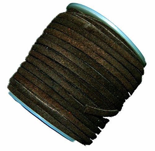 Dark Brown 4mm Flat Genuine Suede Lace Leather Cord 25 Yard Spool 4x1.5mm
