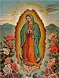 Jessgirl Letrero de metal para decoración de arte vintage chic Virgen De Guadalupe Virgen María católica, actos, santos para el hogar, bar, cafetería, granja, garaje o club, 12 pulgadas x 8 pulgadas