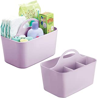 mDesign Plastic Nursery Storage Caddy Tote, Divided Bin with Handle for Child/Kids - Holds Bottles, Spoons, Bibs, Pacifiers, Diapers, Wipes, Baby Lotion - Small, Plastic, Wisteria, Pack of 2