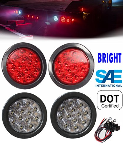 """2 Red + 2 White 4"""" Round Led Stop Turn Tail Back-up Reverse Fog Lights Include Lights Grommet Plug for Truck Trailer RV - WE PAY YOUR SALES TAX"""