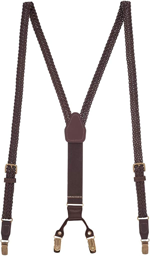 SuspenderStore Men's Herringbone Braided Leather Suspenders - Clip