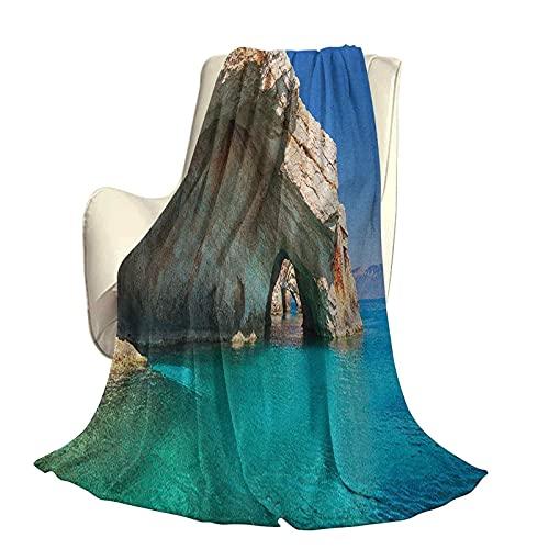 Grecia mullida Felpa Suave cómoda Manta cálida Cueva del mar en la Isla de Zakynthos Grecia Vacaciones relajantes Paisaje Marino Imagen de la Costa Aire Acondicionado de Lujo Funda nórdica W