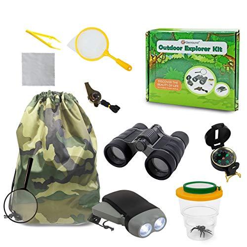 Genround Draussen Forscherset, Geschenk für Jungen 10 Stück Kinder Outdoor Exploration Spielzeug für Draußen umfassen Fernglas Pfeife Kompass Pinzette Taschenlampe Lupe Bug Viewer Putztuch Rucksack