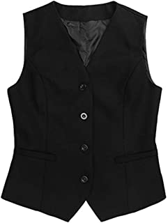 Women Waistcoat Formal Work Dress Suit Vest Sleeveless Cafe Bar Shop Waitress Waistcoat Gilet Jacket Coat Outwear