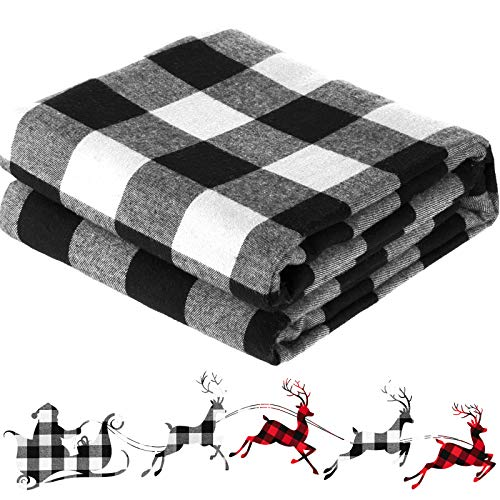 57 x 157.5 Inch Buffalo Plaid Fabrics Cotton Christmas Gingham Fabric Buffalo Check Quilting Fabric Bundles for Sewing DIY Home Farmhouse Party Festival Holiday Decorations (White and Black)