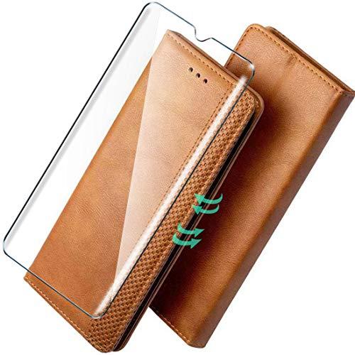 HYMY Hülle für Alcatel 1B 2020 + Schutzfolie - PU Leder Lederhülle Flip mit Stark magnetisch Card Slot Handyhülle Cover (Mit interner Hülle) Card Holder Alcatel 1B 2020-Brown