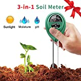 Vistefly Soil Tester, Soil pH Meter,Sunlight,Moisture, 3 in 1 Soil Test Kit, Gardening Tools for Gardens, Vegetable Plots, Lawns, Plants,for Indoor&Outdoor Plant Care (no Battery Required)