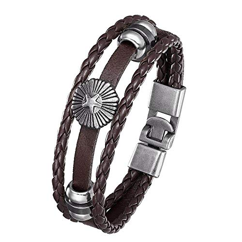Pulsera Hombre Cuero,Mens Leather Bracelet,Vintage Five-Pointed Star Sunflower Brown Beaded Leather Bracelets With Nautical Anchor Hasp Punk Multilayer Bangle Cuff Wristband For Women Husband Teens