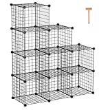 "C&AHOME Metal Wire Cube Storage, 9-Cube Storage Organizer, Stackable Storage Bins, Modular Bookcase, DIY Closet Cabinet Ideal for Living Room Bedroom, Home, Office 36.6""L x 12.4""W x 48.4""H Black"