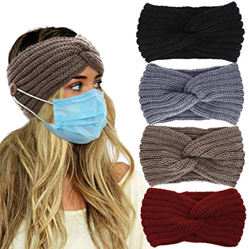 VEEJION Women Knitted Warm Twisted Headbands With Buttons for Face Mask Cover Cold Weather Hair Accessories Head Wrap and Christmas Gifts(4 Pcs)