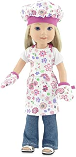 Emily Rose 14 Inch Doll Clothes for Wellie Wishers   Pink Floral Doll Baking Outfit with Apron, Oven Mitts and Chef Hat   ...