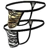 jjsox Men's Sexy G-String Thongs Golden Silver Show Clothes jj43 (M, Gold)