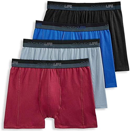 Jockey Life 4-Pack Men's Breathe Cotton Mesh Stretch Boxer Briefs - Assorted Colors (M)