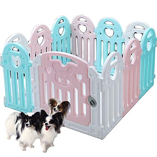 HQBL Área de Organizador de Juegos de Plástico para Cachorros, Corralito para Mascotas, Tamaño Ajustable, Valla de Entrenamiento para Perros, 11 Paneles con Puerta