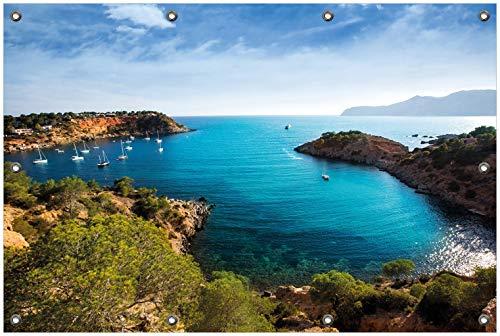 Wallario Garten-Poster Outdoor-Poster, Ibiza - Blick von Einer Bucht aufs Meer in Premiumqualität, für den Außeneinsatz geeignet