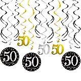 Decoración de cumpleaños 50 Colgante Remolinos de Serpentinas, Techo Adornos Espirales Negro y Dorado Brillante para Boda Celebración Fiesta Suministros