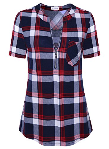Bulotus Ladies Casual Top Short Sleeve Plaid Shirt for Women for Leggings Red XL