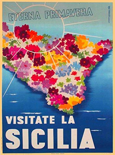 A SLICE IN TIME Visitate La Sicilia Sicily Eterna Primavera Italia Italy Vintage Travel Home Collectible Wall Decor Advertisement Art Poster Print. 10 x 13.5 inches.