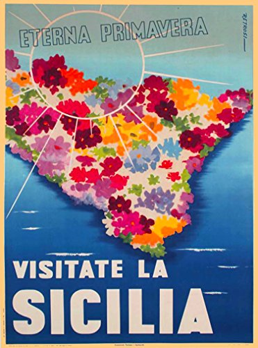 A SLICE IN TIME Visitate La Sicilia Sicily Eterna Primavera Italia Italy Vintage Travel Home Collectible Wall Decor Advertisement Art Poster Print. 10 x 13.5 inches.