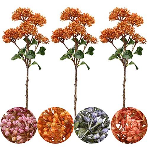 Plantas artificiales de bayas de 50,8 cm con tallo de bayas artificiales de imitación de bayas de sedum de bayas artificiales, ramas de fruta,paquete de 3 - naranja