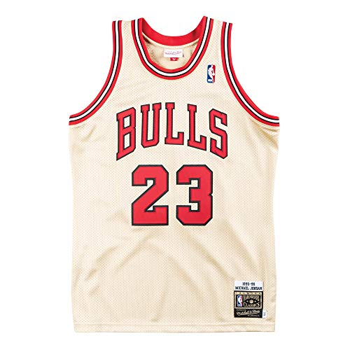 Mitchell & Ness Men's Chicago Bulls Michael Jordan Gold 1995/96 Hardwood Classics Premium Gold Jersey (Small (36), Jordan Gold)