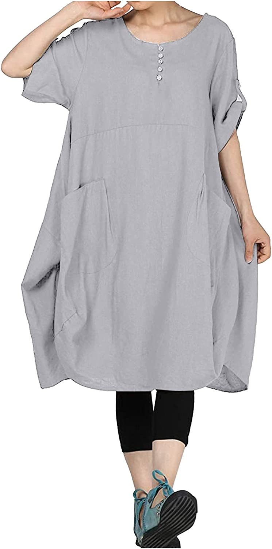 Oversize Dress for Women Short Sleeve Loose Pocket Tunic Dresses Baggy Cotton Linen Casual Midi Tshirt Dresses