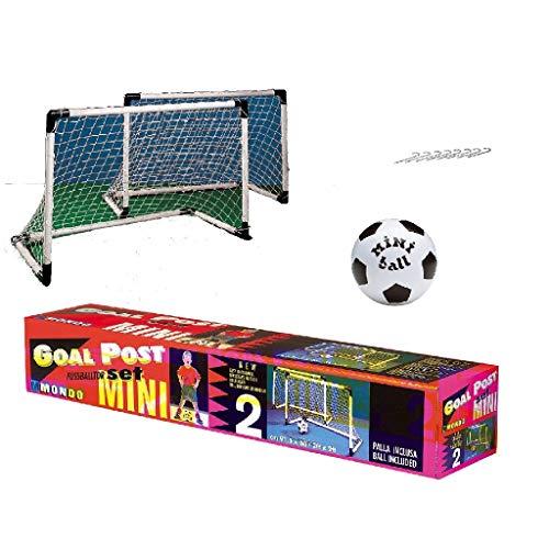 Mondo Toys - Goal Post Mini - Set 1 Porta da Calcio per Bambini con Rete - Pallone Mini Ball INCLUSO - colore bianco / nero - 18017