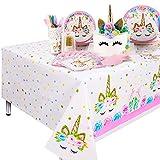 Qoosea Unicorn Desechable Mantel Fiesta de Cumpleaños Suministros de Decoración Cocina Al Aire Libre Mantel de Picnic