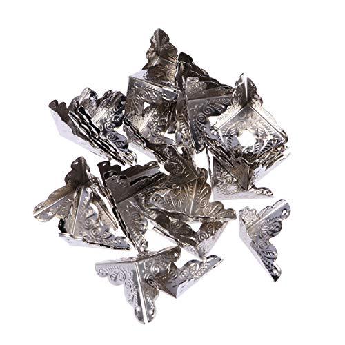 VOSAREA Kantenabdeckung Metall Vintage Eckenschutz Kantenschutz Möbel Ecken mit 120 Nagel 30 Stück (Silber)