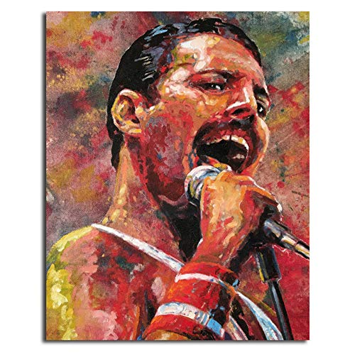 WJY Queen Band Freddie Mercury HD Wall Art Canvas Poster y Print Canvas Painting Imagen Decorativa Modern Living Room Home Decor 60cm x90cm No Frame