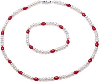 JYX Pearl and Coral Necklace Bracelet Set Handmade Single-Strand Elegant 5-5.5mm Natural Freshwater Cultured White Pearl and Red Coral Necklace Bracelet Set for Women 17
