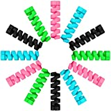 Jetec 24 Pieces Charger Cable Saver, Silicone Flexible Cable Wire Protector, Mouse Cable Protector, Suit for All Cellphone Data Lines (6 Black, 6 Pink, 6 Blue, 6 Green)