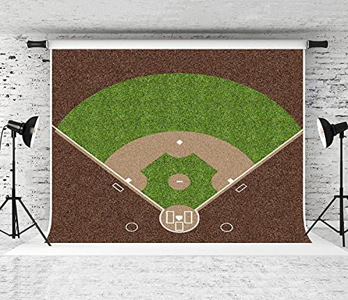 NANITHG Photography Background an Overhead View of an American Baseball Field with White Markings Painted on Grass and Gravel Party Decoration Banner Photo Booth Backdrop for Studio Props 10x7FT