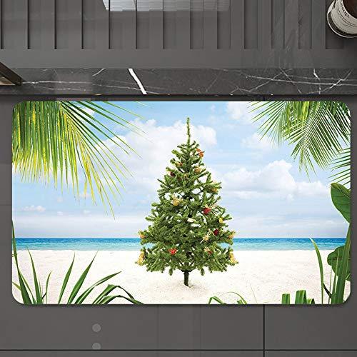 Alfombrilla de Baño Antideslizantes de 50X80 cm,Navidad, árbol con guirnaldas y adornos Tema, Tapete para el Piso Lavable a Máquina con Microfibras Suaves Absorbentes de Agua para Bañera, Ducha y Baño