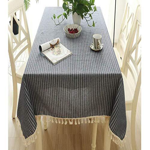 BH-JJSMGSeinfache dunkelblau gestreifte Polyester Baumwolle Baumwolle, Fransen Spitze rechteckige Tischdecke waschbar Antifouling Staub Tuch Tischdecke Tischdecke60 * 60cm